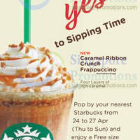 Read more about Starbucks NEW Caramel Ribbon Crunch FREE Size Upgrade Promo 24 - 27 Apr 2014