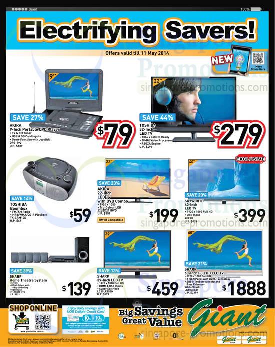 Akira DPS-T92 DVD Player, Akira 22LED211DVD TV, Skyworth 40E9D TV, Toshiba TX-CRM10D Boombox, Sharp HT-CN310HTS Home Theatre System, Sharp LC39LE155M TV, Sharp LC60LE631 TV