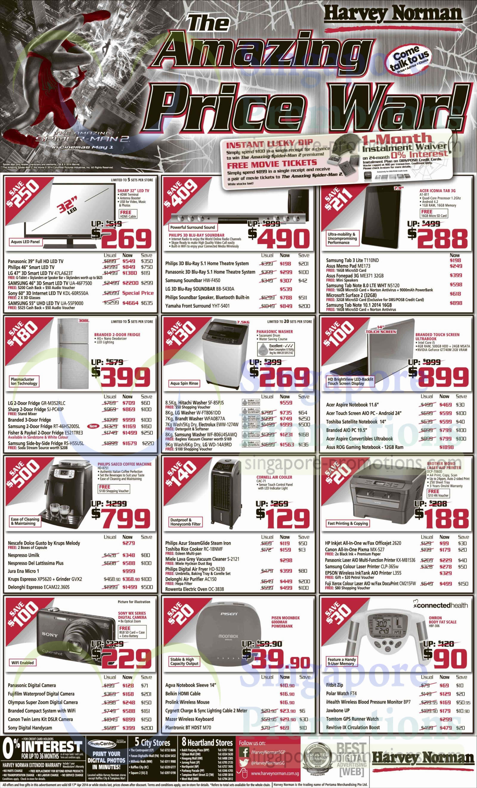 LG 47LA623T TV, Samsung UA46F7500 TV, Samsung UA55F9000 TV, Samsung HW-F450 Soundbar, LG BB-5430A Soundbar, Yamaha YHT-S401 Speakers, Acer A1-811 Tablet, ASUS ME173 Tablet, ASUS ME371 Tablet, Samsung Galaxy Note 8.0, Microsoft Surface 2, Samsung Galaxy Note 10.1, LG GR-M325RLC Fridge, Sharp SJPC40P Fridge, Samsung RT46H5200SL Fridge, Fisher & Paykel E521TRE3 Fridge, Samsung RSH5SUSL Fridge, Hitachi SF85PJS Washer, LG WFT8061DD Washer, Brandt WFA0877A Washer, Electrolux EWW1274W Washer, Samsung WF806U4SAWQ Washer, LG WD14A9RD Washer, Philips HD-8751 Coffee Machine, Nescafe Dolce Gusto Coffee Machine, Nespresso Umilk Coffee Machine, Nespresso Del Lattissima Plus Coffee Machine, Jura Ena Micro 1 Coffee Machine, Delonghi ECAM22.360S Coffee Machine, Cornell CAC-71 Air Cooler, Philips Azur Iron, Toshiba RC-18NMF Rice Cooker, Miele S-2121 Vacuum Cleaner, Philips HD-9230 Air Fryer, Delonghi AC150 Air Purifier, Rowenta OC-3838 Oven, Brother DCP-7060D Printer, HP 2620 Printer, Canon MX527 Printer, Panasonic KX-MB1536 Printer, Samsung CLP-365w Printer, Epson L355 Printer, Fuji Xerox CM215FW Printer, Plantronic M70 Bluetooth Headset, Omron HBF-306 Body Fat Scale, Polar FT4 Watch and iHealth BP7 Blood Pressure Monitor
