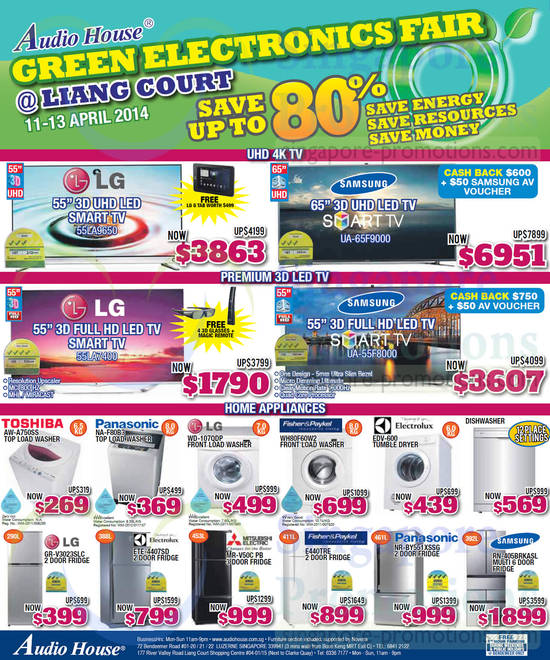 Samsung UA65F9000 TV, Samsung UA55F8000 TV, LG 55LA9650 TV, LG 55LA7400 TV, Toshiba AW-A750SS Washer, Panasonic NA-F80B3 Washer, LG WD-107QDP Washer, Fisher & Paykel WH80F60W2 Washer, Electrolux EDV-600 TUMBLE Dryer, Samsung RN-405BRKASL Fridge, Panasonic NR-BY551XSSG Fridge, Fisher & Paykel E440TRE Fridge, Mitsubishi ElectricMR-V50C PB Fridge, ElectroluxETE-4407SD Fridge and LG GR-V3023SLC Fridge