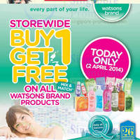 Read more about Watsons Buy 1 Get 1 FREE ALL Watsons Brand Products ONE Day Promo 2 Apr 2014