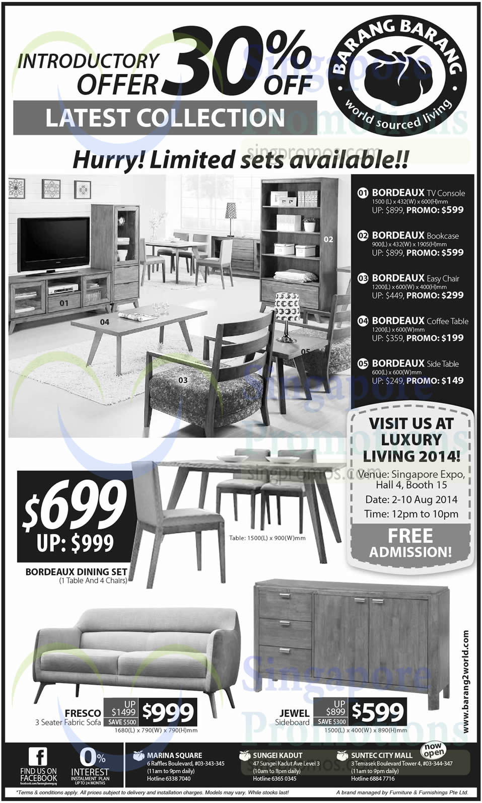 2 Aug Barang Barang Furniture Offers Luxury Living 2014 Singapore Expo 2