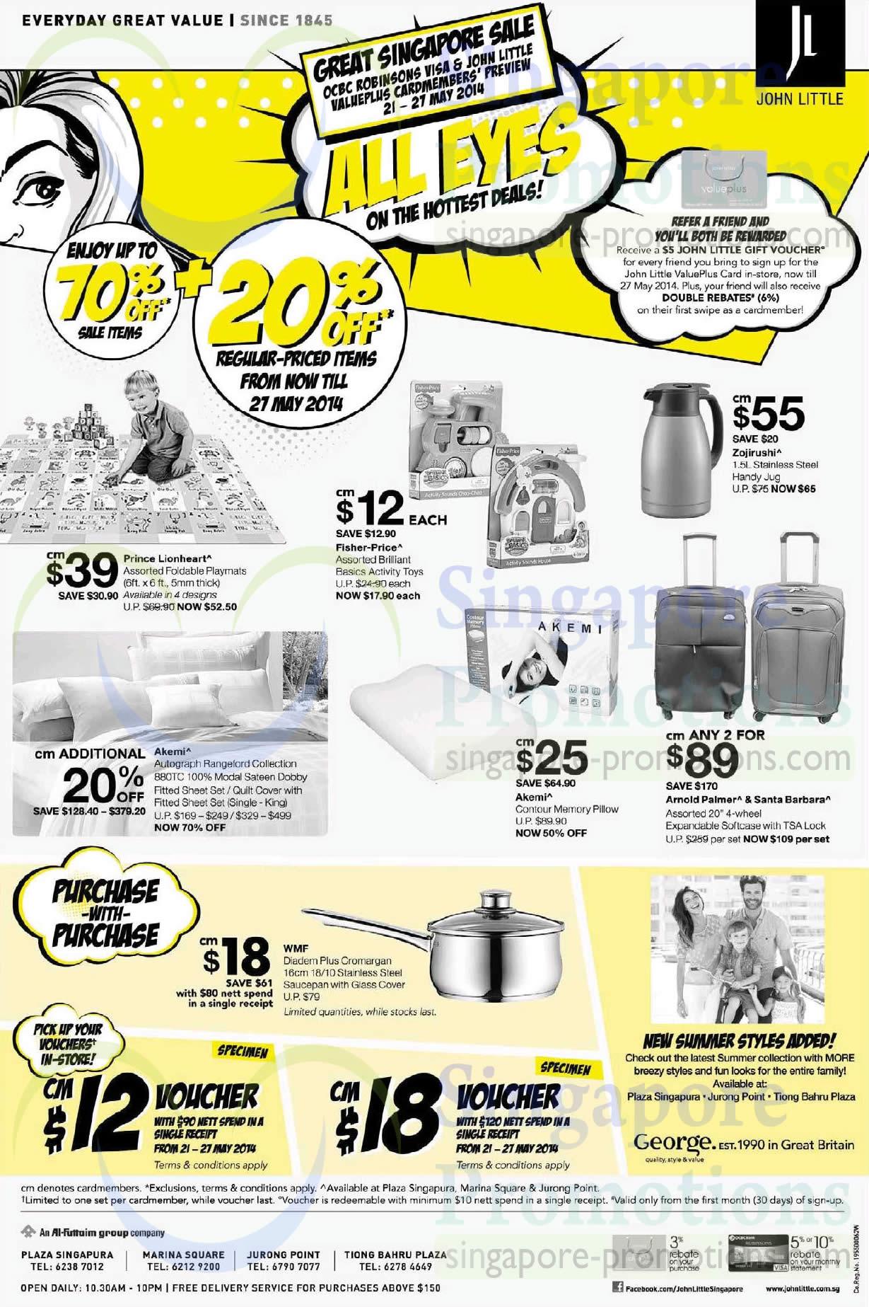 21 May Luggage, Bedsheets, Playmats, Jug, Vouchers, Akemi, Arnold Palmer, Santa Barbaram Zojirushi