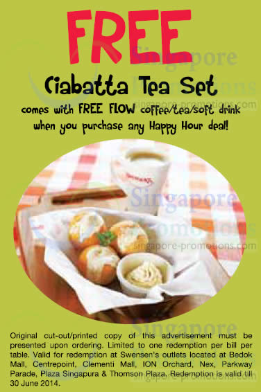 26 May Free Ciabatta Tea Set. Coupon (Print n Present)