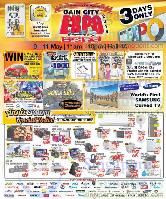 9 May 3rd Anniversary Special Deals, Win a Mazda 3, Trade in Old Notebook, Meet DJs, League Legends