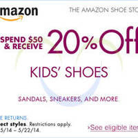 Read more about Amazon.com 20% OFF Kids Shoes Coupon Code 15 - 22 May 2014