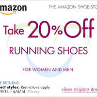 Read more about Amazon.com 20% OFF Running Shoes Coupon Code (NO Min Spend) 30 May - 5 Jun 2014