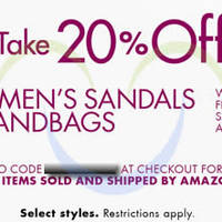 Read more about Amazon.com 20% OFF Women's Sandals & Handbags Coupon Code (NO Min Spend) 23 - 28 May 2014