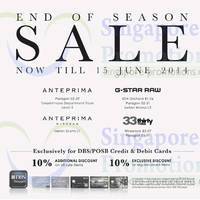 Read more about Anteprima, G-Star Raw & 33 Thirty Three End of Season SALE 16 May - 15 Jun 2014