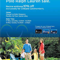 Read more about Polo Ralph Lauren SALE @ Shangri-La Hotel 17 - 18 May 2014