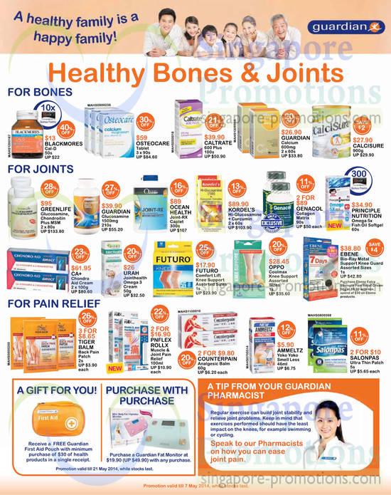 Osteocare Tablet, Greenlife Glucosamine, Chondroitin Plus MSM, Ocean Health Joint-RX Caplet, Kordel's Hi-Glucosamine + Curcumin, Genacol Collagen Matrix, CA+ Chondro Aid Cream