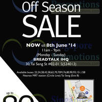 Read more about Giordano Ladies Off Season SALE @ Breadtalk IHQ 30 May - 8 Jun 2014