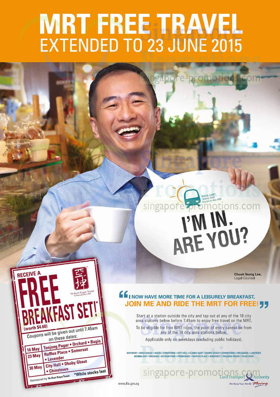 MRT Free Travel Extended, Yu Kun Free Breakfast Set