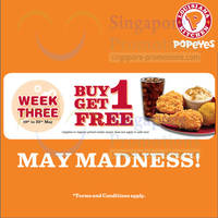 Read more about Popeyes Buy 1 Get 1 FREE All Combo Meals 19 - 23 May 2014