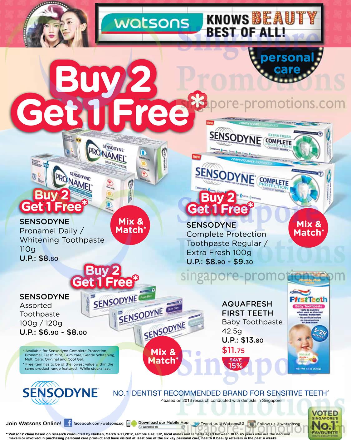 Sensodyne Toothpaste Buy 2 Get 1 Free