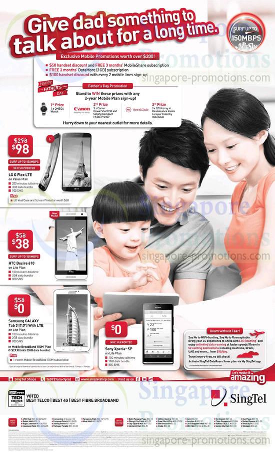 Sony Xperia SP, Samsung Galaxy Tab 3 7.0, HTC Desire 610, LG G Flex