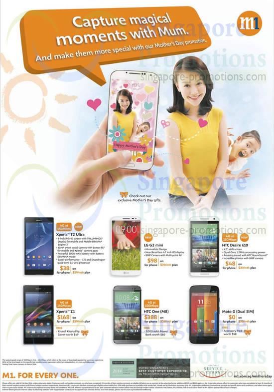 Sony Xperia T2 Ultra, Sony Xperia Z1, HTC One M8, HTC Desire 610, Moto G, LG G2 Mini