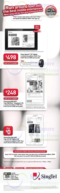 Sony Xperia Z2, Samsung Galaxy Tab 3 7.0, Samsung Galaxy Pro 8.4