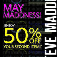 Read more about Steve Madden 50% OFF 2nd Item Promo 9 - 13 May 2014