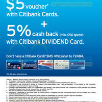 Read more about Watsons Spend $50 Get $5 FREE Voucher For Citibank Cardmembers 1 - 28 May 2014