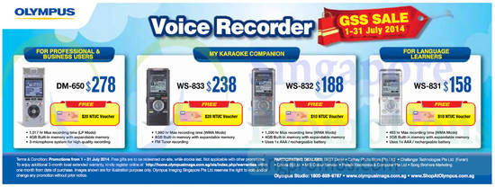 2 Jul Voice Recorders DM-650, WS-833, WS-832, WS-831