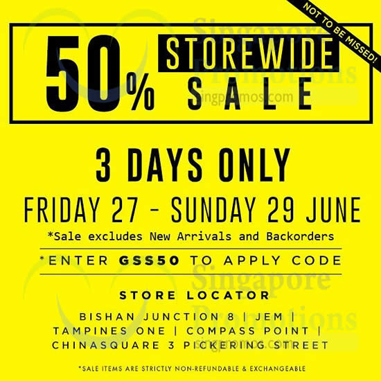 27 Jun Last 3 Days 50 Percent Off Storewide