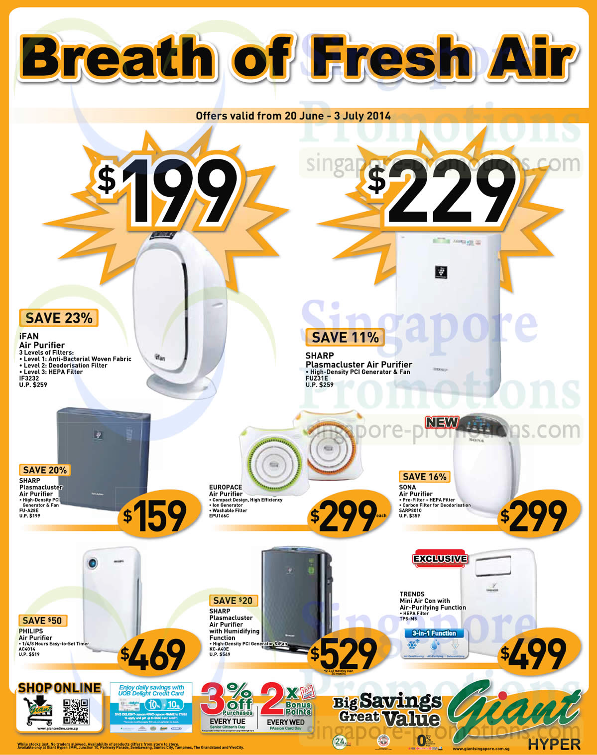Giant Hypermarket Cooling Appliances Offers 20 Jun – 3 Jul 2014 #C68205