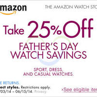 Read more about Amazon.com 25% OFF Watches Coupon Code (NO Min Spend) 3 - 16 Jun 2014