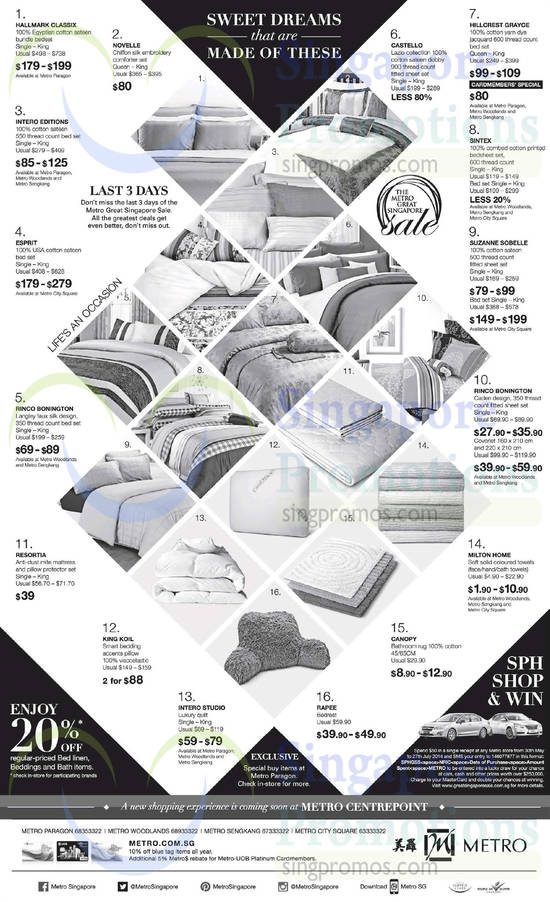 Bedsheet Sets Hillcrest Grayce, Castello, Suzanna Sobelle, Sintex, Rinco Bonington, Novelle, Esprit, Intero Editions, Hallmark Classix