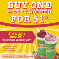 Read more about Boost Juice Bars $1 2nd Smoothie Promo 21 - 22 Jun 2014