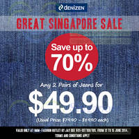 Read more about Denizen $49.90 For Two Jeans Promo @ IMM 12 - 15 Jun 2014