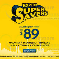 Read more about Expedia From $89 All-in 3D2N Flights + Hotel Promo 7 - 8 Jun 2014