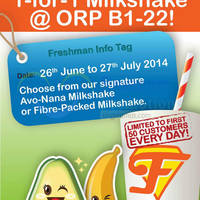 Read more about Freshman 1 For 1 Fruit Milkshake @ One Raffles Place 26 Jun - 27 Jul 2014