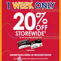Read more about Guardian 20% Off Storewide Sale For Passion Cardmembers 19 - 25 Jun 2014