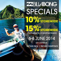 Read more about Billabong 10% OFF Storewide @ Nex & Tampines Mall 6 - 8 Jun 2014