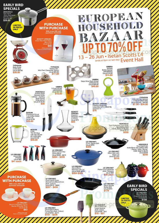 Kitchenware, Glassware, Woks, Dishes, Casserole, Coffee Machines, Schott Zwiesel, Bodum, Le Creuset, Henckels