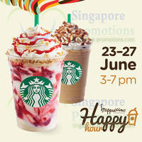 Read more about Starbucks Buy 1 Get 1 FREE Frappuccino Happy Hour Promo 23 - 27 Jun 2014