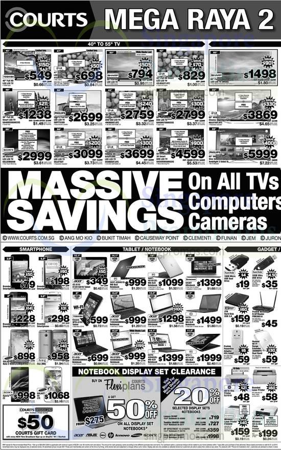 LG 60LB750T.ATC TV, LG 47LN5400 TV, LG 42LB582T.ATC TV, Samsung UA48H5500AKXXS TV, Philips 58PFT5309 TV, LG 49UB850T.ATC TV, Samsung UA50HU7000KXXS TV, Sony KDL55W800B TV, LG 55LB750T TV, LG 55UB850T.ATC TV, Samsung UA55HU8500KXXS TV, Samsung Galaxy Note 3, HTC One, Sony Xperia Z2, Samsung Galaxy S5, Acer A3-A10-81251G01N Tablet, Dell 3437-420451G-W8-BLK Notebook, Dell 5447-451812G-W8-SLR Notebook, Lenovo U430T Notebook, Toshiba WT8-A102 Tablet, Acer E1-572G-74504G50MNKK Notebook, Acer S3-392G-54204G50T Notebook, Dell 5470-450412G-W8-SLR Notebook, Acer E1-410-35204050MNKK Notebook, Acer V5-573PG-54204G50AII Notebook, Dell 5470-420452G-W8-SLR Notebook, Dell XPS11-42141SG-W8-BLK Notebook, Lenovo S510P Notebook, Toshiba U840W-1000 Notebook, HP 13-2102TU Notebook, ASUS UX31A-C4037P Notebook, HP DJ4630 Printer, Fuji Xerox P2550W Printer and Canon MG6470 Printer