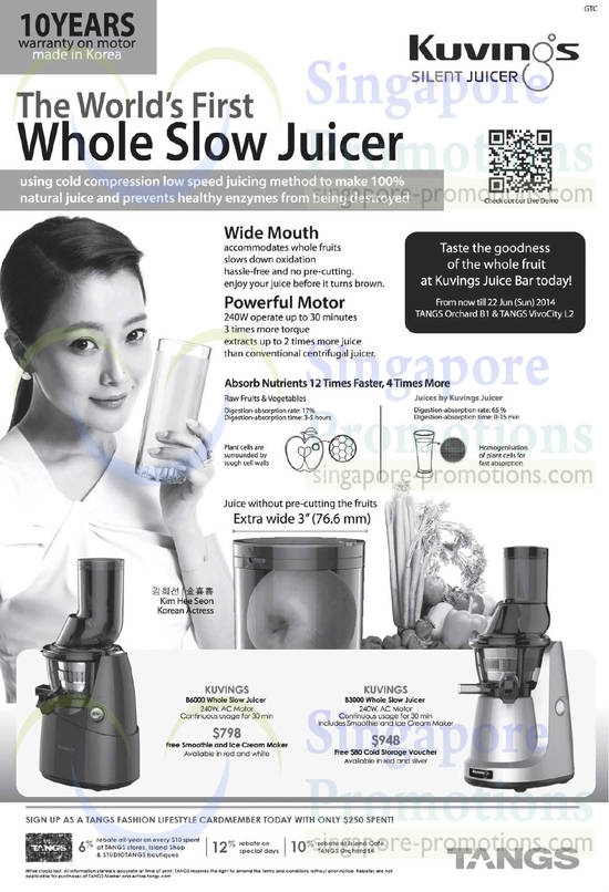 Kuvings Whole Slow Silent Juicer @ Tangs 6 Jun 2014
