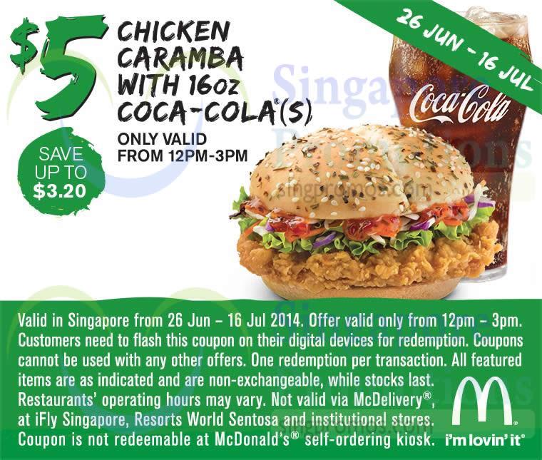 (Till 16 Jul) 5.00 Chicken Caramba n Coca-Cola