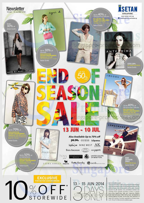 Up To 50 Percent Off Sale Agnes b, Anteprima, iBlues, Longchamp, Vivienne Westwood, Jillstuart, Marella