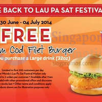 Read more about Wendy's Buy Large Drink & Get FREE Burger @ Lau Pa Sat 30 Jun - 4 Jul 2014