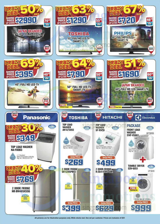 Panasonic NA-F80B3 Washer, Panasonic NR-BW465XSSG Fridge, Toshiba AW-A750SS Washer, Toshiba GR-S20SPB(C) Fridge, Hitachi SF-95PJS Washer, Hitachi R-ZG411EMS GBK Fridge, Electrolux EWF-85661 Washer, Electrolux EDV-6051 Dryer