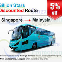 Read more about Billion Stars Coach Services 5% OFF SG To Malaysia Bus Routes 2 Jul 2014