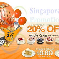 Read more about BreadTalk 20% OFF Whole Cakes & $8.80 Two Slices Promo 12 - 14 Jul 2014
