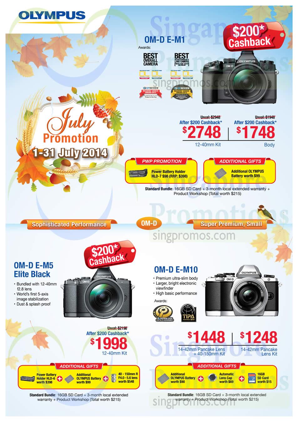 Olympus OM-D E-M1 Digital Camera, Olympus OM-D E-M5 Elite Black Digital Camera, Olympus OM-D E-M10 Digital Camera