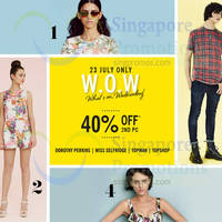 Read more about F3 40% OFF 2nd Piece @ Dorothy Perkins, Miss Selfridge, Topman, Topshop 23 Jul 2014