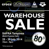 Read more about Kappa, Arena, Le Coq Sportif & Crocs Warehouse Sale 25 - 28 Jul 2014