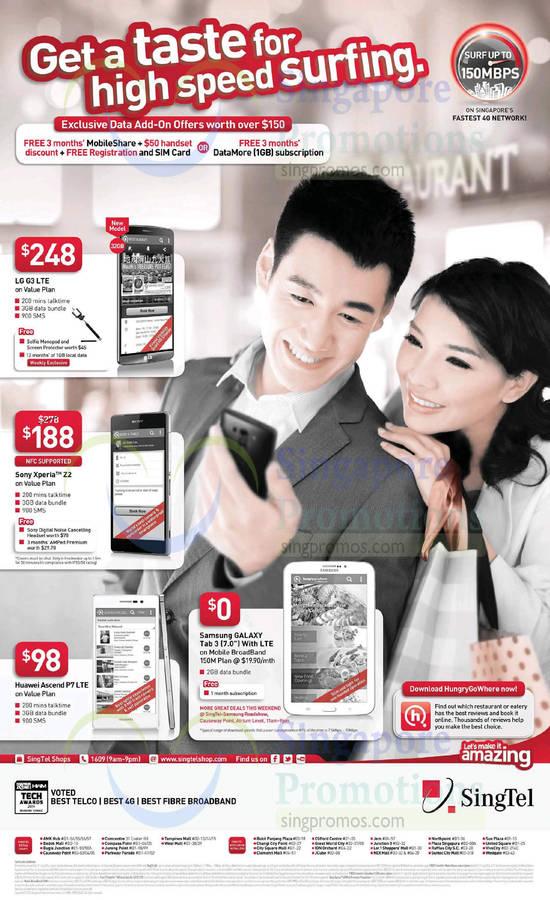 LG G3, Sony Xperia Z2, Huawei Ascend P7, Samsung Galaxy Tab 3 7.0