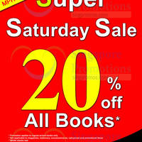 Read more about MPH Bookstores 20% OFF Storewide Saturdays Promo @ Robinson Road 5 - 26 Jul 2014
